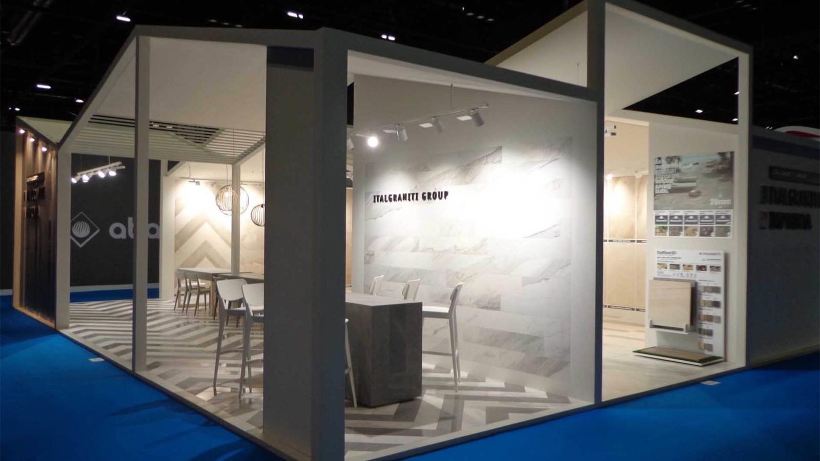 Bottega - Dettaglio allestimento stand fieristico Italgraniti per l'edizione 2015 del Coverings di Orlando