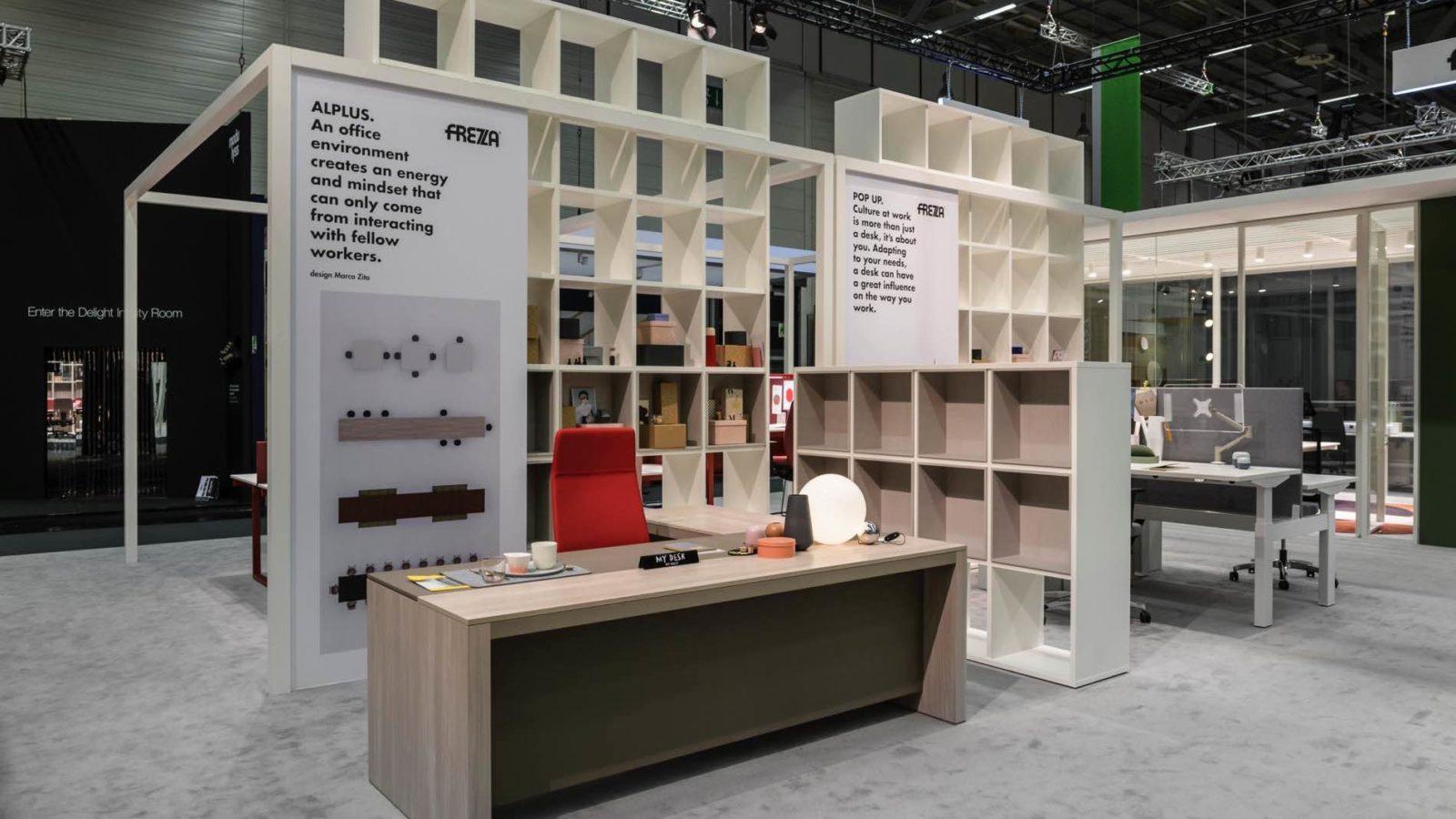 Bottega - Dettaglio allestimento stand Frezza per l'edizione 2018 dell'Orgatec a Colonia