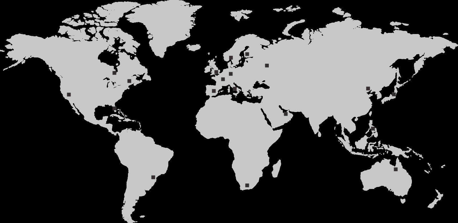 mappa delle fiere nel mondo in cui Bottega ha allestito degli stand