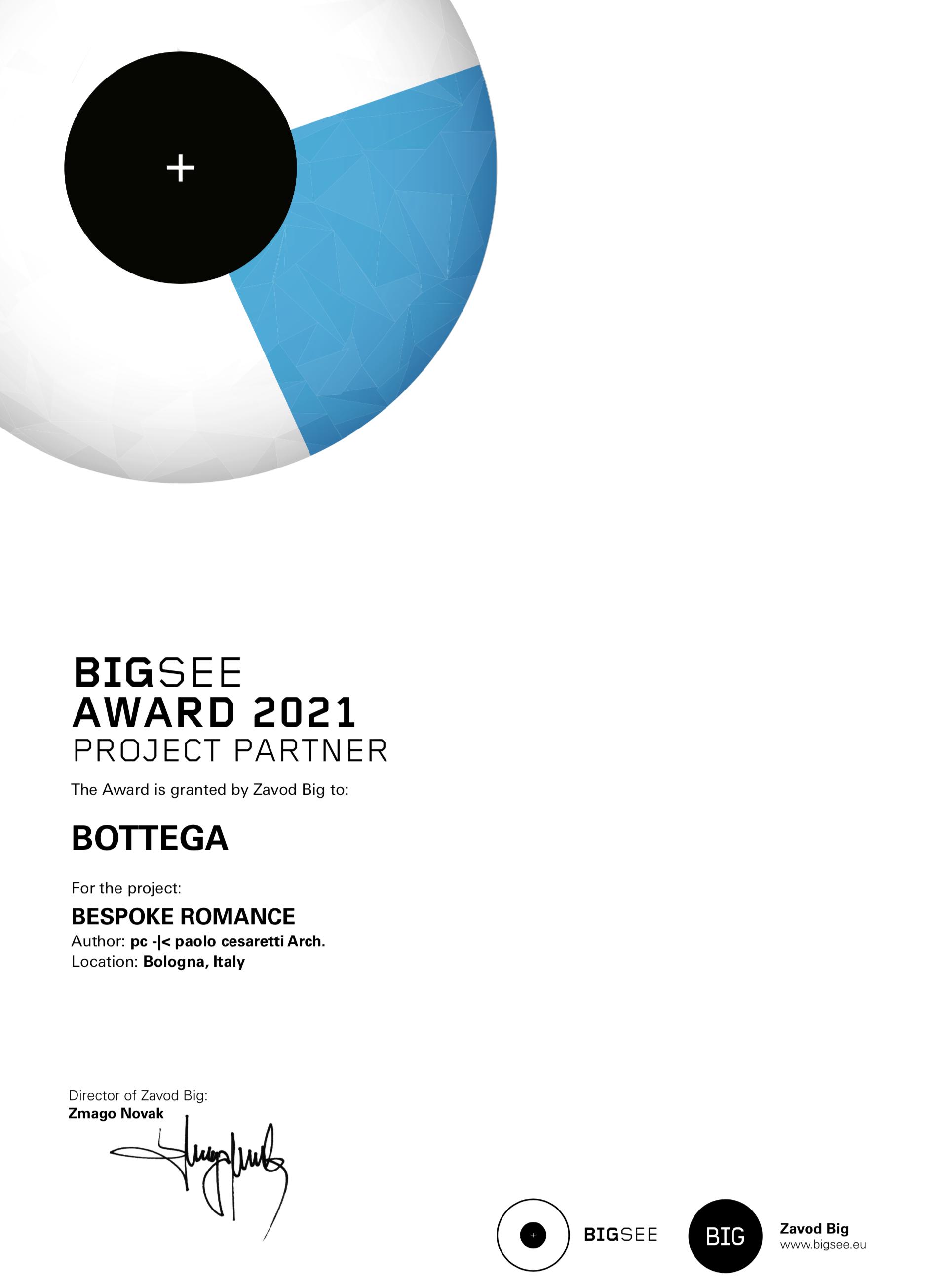 Big See Award 2021 - Premio La Bottega: Stand Bespoke Romance - Architetto Paolo Cesaretti - Cersaie Bologna